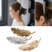 iWenSheng 3pcs Women Girl Punk Style Feathers Hair Clips Pin Claw Barrettes Accessories