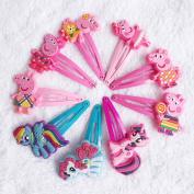6 Matching Pairs Peppa Pig Hair Clips Bows Hairpin Girls Children Headwear