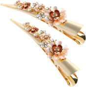 LiveZone 2-Count Stylish Large Hair Ornaments Accessory Women Girls Alligator Hair Clip Hairclip Ponytail Holder DIY Accessories Hairpins Non-slip Chic Styling Claw Hair Barrettes,Champagne Flowers