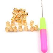 20 PCS 8mm Dreadlocks Braiding Beads Cuffs Tubes Hair Decoration Accessories Filigree Tube +1 Pcs Latch Hook Crochet Needle