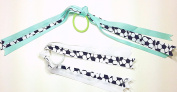 Set of Two Soccer Sports Ribbons Hair Elastic Ponytail Holders for Girls - Seafoam Green & White