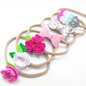 6PCS Flower Stretch Nylon Headband Floral Elastic Hair Band Silver Leather Bow Pink Heart Hairbands