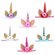 6pcs Glitter Metallic Unicorn Horn with Chiffon Flowers Hair Hoop Party For Kids Headband Accessories