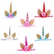 6pcs Glitter Metallic Unicorn Horn with Chiffon Flowers Hair Hoop Party For Kids Headband Accessories