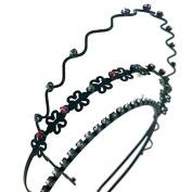 Hairstyle 2 Pcs Metal Black Slim Headband Hair Style Headwear Hoop w Teeth : H21