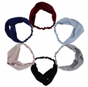 6pcs Children's Women Stretchy Athletic Bandana Headbands Head wrap Yoga Headband Head Scarf Best Looking Head Band for Sports or Exercise FD39