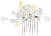 Handmade Wedding Bridal Hair Comb & hair Accessories with Ivory Pearl & Crystal & Resin Flower