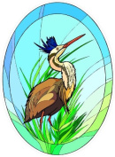 Tropical Crane Bird in Grass - Etched Vinyl Stained Glass Film, Static Cling Window Decal