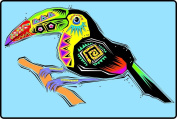 Festive Southwest Designed Toucan Bird - Etched Vinyl Stained Glass Film, Static Cling Window Decal