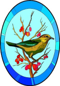 Brown & Green Bird on Branch with Berries-Etched Vinyl Stained Glass Film, Static Cling Window Decal