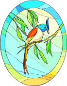 Tropical Bird with Long Red Tail Feathers-Etched Vinyl Stained Glass Film, Static Cling Window Decal