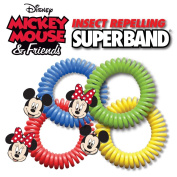 Insect Repelling Disney Superband Wristbands with Mickey and Minnie Mouse Charms - All Natural, Safe, DEET Free