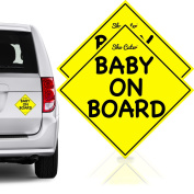 Safest Baby On Board Car Magnet Stickers Signs | Unobstructed View | Reflective & Reuseable | No Fade Weather Resistant UV Printing | Must Have Travel Accessories for Safety | Baby Gift | Small