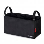 Violet Mist Universal Stroller Organiser Nappy Insulated Storage Bag, Black