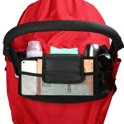 Amzlen Baby Stroller Organiser | Universal Fit | Effortless to put on | Quality Product with FREE Stroller Hooks (Black) | Roomy Storage Spaces for Phones, Nappies, Books, Toys, Wallets, Purses, iPads