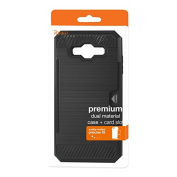 Reiko Slim Armour Hybrid Case with Card Holder Cell Phone Case for / SM-J700F - Black
