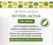 Retinol Active Day Cream 50 ml - Natural & Organic anti-ageing facial moisturiser and wrinkle filler with UVA Filter, Manuka Honey, Royal Jelly and Matrixyl 3000