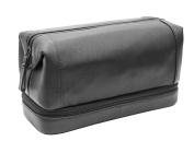 Prime Hide Soft Black Leather Zipped Bottom Wash Bag Toiletry Bag - Black