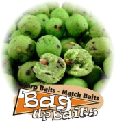 """Bag Up Baits Boosted Green Fishmeal 14mm Big Carp & Barbel Boilies 100gm Session Pack - """" Top Selling Boilies ."""