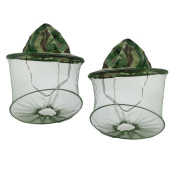 SUNREEK 2 Pack Camouflage Beekeeping Beekeeper Anti-mosquito Bee Bug Insect Fly Mask Cap Hat with Head Net Mesh Face Protection Outdoor Fishing Equipment
