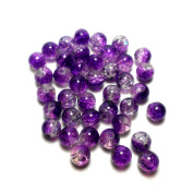 "Moxx 2-tone 8mm Round Crackle Lampwork Glass Beads Purple/clear ""Frozen Grape"""