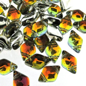 Czech Glass GemDuo Beads, 2-Hole Diamond Shaped Beads 5x8mm, 10 Grammes, Backlit Tequila