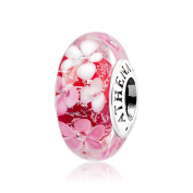 ATHENAIE Murano Glass 925 Silver Core Pink Flower Garden Bead Charms Colour Pink