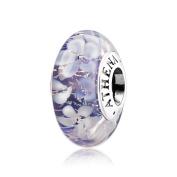 ATHENAIE Murano Glass 925 Silver Core Purple Flower Garden Bead Charms Colour Purple