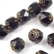 Faceted Czech Crown Cathedral Beads-JET BLACK 8mm