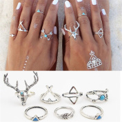 7PCS Turquoise Vintage Antlers Open Turkish Joint Knuckle Boho Bohemia Rings Tribal Nail Midi Knuckle Stack Ring Set