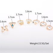 7PCS/Set Turquoise Moon Love Joint Knuckle Rings Turkish Boho Bohemia Stack Nail Midi Knuckle Ring Set for Women