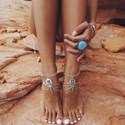 2 Pcs Barefoot Sandals Beach Foot Jewellery Anklet Chain