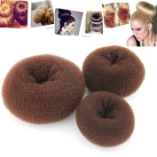 Kangkang@ 3PCS Fashion Classy Brown Round Hairdressing Tool Hair Former Donut Doughnut bundles Ring Styling Mesh Chignon Bun Maker