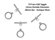 PlanetZia 6 sets Ribbed Designed Round Toggle Clasps for Jewellery Making JEN-238