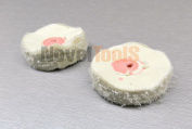 MINI BUFF BUFFING WHEEL 5.1cm BUFF WHITE FINEX MUSLIN 40Ply Shellac Centre 2 Pieces (1E) NOVELTOOLS