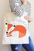 Sleeping Fox Tote Bag in Natural Colour
