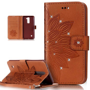 LG Stylo 2 Case,LG Stylus 2 Case,ikasus Glitter Diamond Embossing Flower Skull PU Leather Flip Wallet Pouch Stand Credit Card ID Holders Case Cover for LG G Stylo 2/LG Stylus 2 LS775,Flower Brown