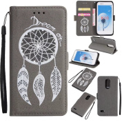 LG K20 V Case, LG K20 Plus Case, LG Harmony Case, LG LV5 Case, LG K10 2017 Case, Ranyi [Bling Glitter Wallet] [Wind Chimes Design] [Kickstand Feature] Flip Leather Wallet Case [With Wrist], grey