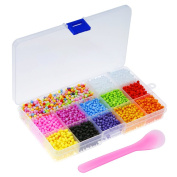 OPount Foam Balls Made of Styrofoam 5000 Pieces 0.1-0.4cm 12 Colours with Storage Case and Mixing Spoon for Arts and Crafts