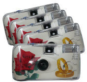 TopShot 376090 Golden Roses Disposable 40027 with Built-in Flash Pack of 5, White
