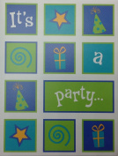 (8) Blue & Green Mod Party Fill-in Invitation Cards