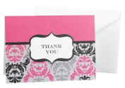 Black/Fuchsia Damask and Crest Thank You Cards