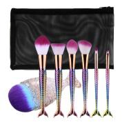 Ecurson Fish Scale Foundation Eyebrow Eyeliner Make Up Brushes Set