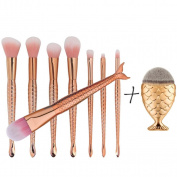 Ecurson 9PCS Gold Kabuki Make up Brushes Set Makeup Foundation Powder Blusher Face Brush Set