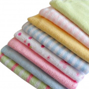 """Cren 8 Pcs Soft Baby Cotton Bath Towels Infants Face Washcloth Handkerchiefs, 22.9×22.9cm/9.01×9.01"""""""