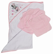 Disney Minnie Mouse Hooded Towel and Washcloths Gift Set, Pink