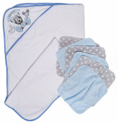 Disney Mickey Mouse Crown Hooded Towel and Washcloths Gift Set, Blue