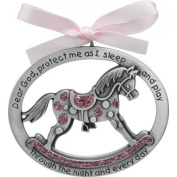 Sweet ROCKING HORSE Crib Medal for Baby GIRL with PRAYER Verse PEWTER Finish - CHRISTENING/SHOWER GIFT - Baptism KEEPSAKE w/ PINK RIBBON - INFANT - Newborn