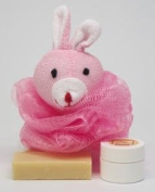 "Neem Oil Soap ""Heaven Scent"" & Rash Relief Neem Cream ""Pink Rabbit"" Loofa Bath and Gift Set - For Babies and Kids!"