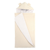 My Blankee Minky Dot with Ears & Organic White Pima Cotton Hooded Towel, Cream, 70cm x 110cm